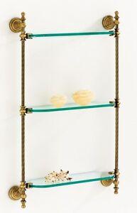 Ripiani Mensola In Vetro Cristallo E Ottone Fuso Per Bagno ab-614 | eBay