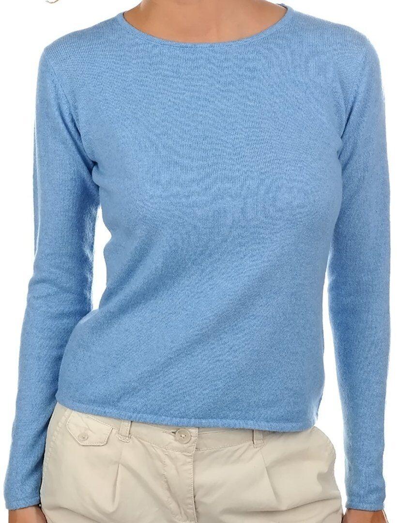 Balldiri 100% Cashmere Damen Pullover Rundhals 2-fädig azurblau S