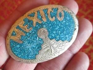True-Vtg-1940s-Alpaca-Mexico-Silver-Turquoise-Inlay-Belt-Buckle-Aztec-Temple
