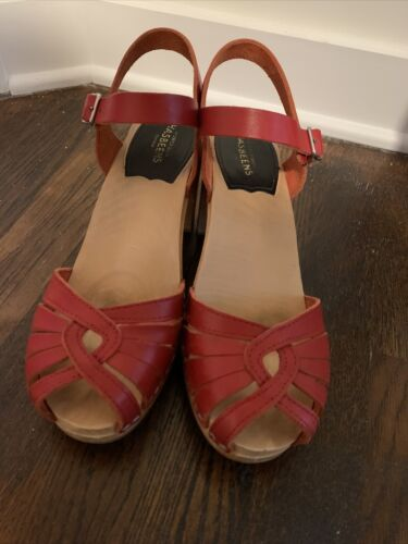 swedish hasbeens SJP red Strappy Sandals 38 (7.5)