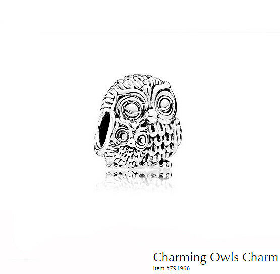 PANDORA Charm Sterling Silver ALE S925 CHARMING OWLS  791966