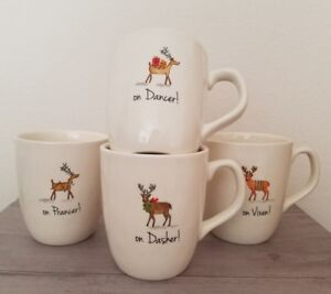 NEW-4-RaeDunn-by-MAGENTA-CHRISTMAS-REINDEER-Prancer-Dasher-Vixen-Dancer-Mug