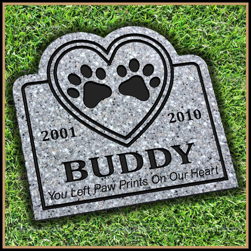 Personalized Pet Portrait /& Text Pet Grave Marker 12x10 Engraved on Granite