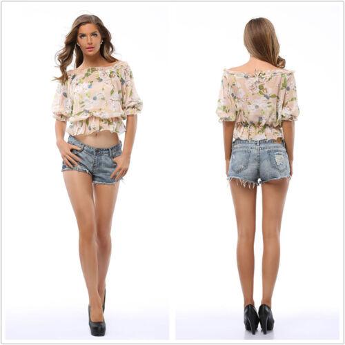 Summer Fashion Women/'s Casual Loose 1//2 Sleeve Chiffon Elastic Waist Blouse Top