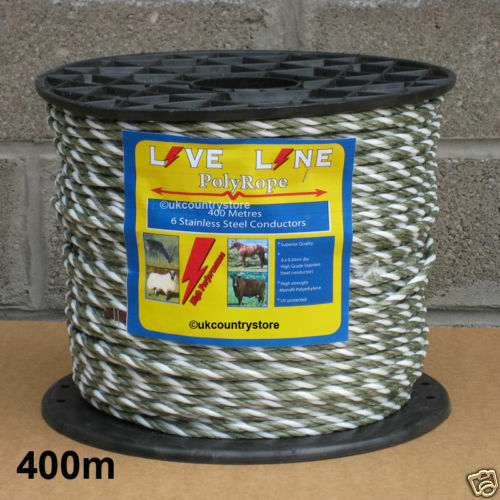 Green & White Electric Fence Rope 400m - 6mm Horse Fencing Poly Rope