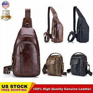 2b1dbb5e87 Image is loading BULLCAPTAIN-Men-Messenger-Bag-Casual-Genuine-Leather- Shoulder-