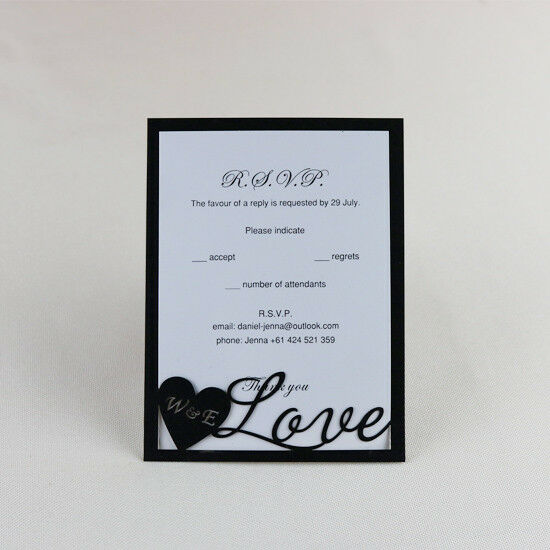 Personalized cut out Black  RSVP cards,Wedding Invitations/ Wish Well cards