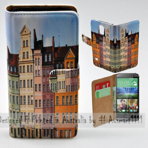 For-HTC-Series-Mobile-Phone-Polish-Colour-Building-Print-Wallet-Phone-Case-Cover