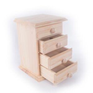 Plain-PORTAGIOIE-STORAGE-in-legno-con-4-CASSETTI-PORTAOGGETTI-fai-da-te-decoupage-Craft