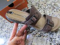 Merrell Whisper Slide Sandals Womens 8 Brown Leather Slides Free Ship