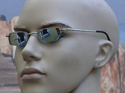 Sonnenbrille Herrenbrille schmale Gläser verspiegelt elegant silber/chrom  V-948