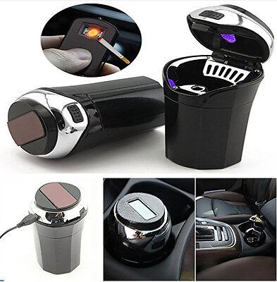 Portable Car Auto Cigar Cigarette Lighter Ashtray with USB Charge Blue LED Light