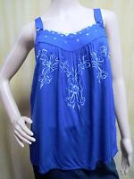 Lc Lauren Conrad Embroidered Tunic Tank Top Blouse Blue Misses Size Xs S 2 4 6
