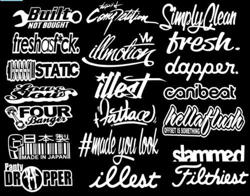 JDM Mega Sticker Pack Stance Low Vinyl Decals 20 Stickers You Choose Color