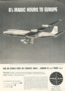 1958-Pan-Am-Airline-6-Hours-to-Europe-Vintage-Advertisement-Print-Ad-J467