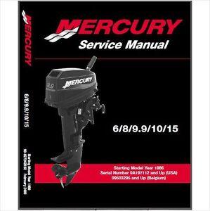 86 03 mercury 6 8 9 9 10 15 hp 2 stroke outboard service repair rh ebay com Outboard 9.9 2 Stroke 1980 Outboard Motors