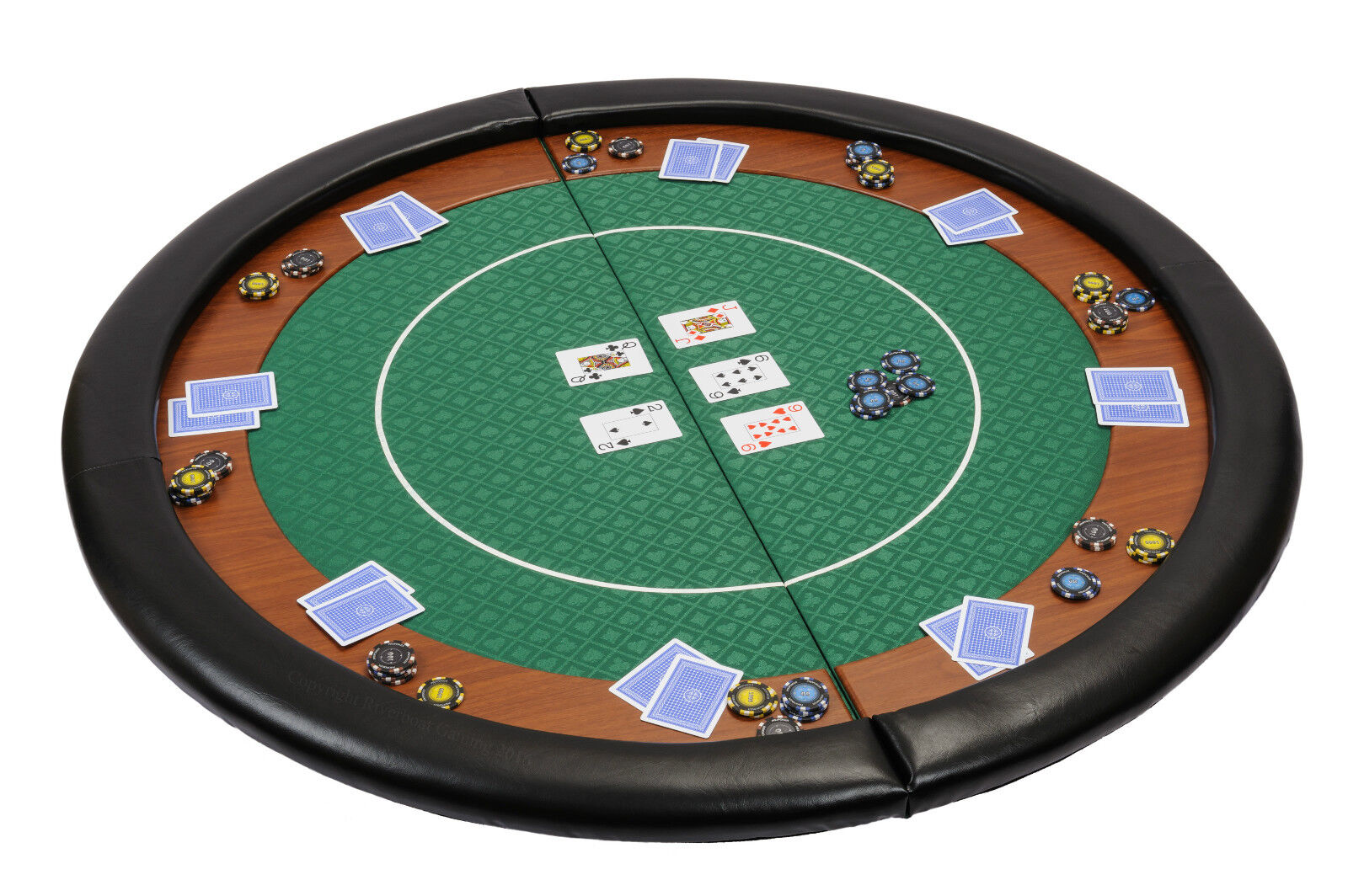 Riverboat Folding Poker Table Top in verde Speed Cloth and Pelle Armrest 120cm