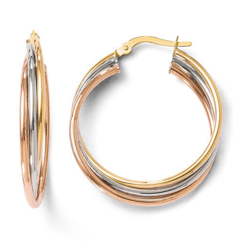 Leslies 14k Tri-Color Tri-Color Polished /& Textured 5mm x 28mm Hoop Earrings
