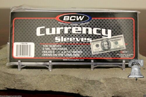100 BCW Currency Sleeves 2mil Acid Free Regular Dollar Bill Banknote Thin Sleeve