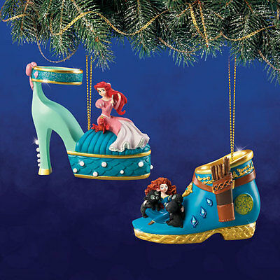 Disney's Once Upon a Slipper Ornaments Merida and Ariel  Shoe Figures set #13