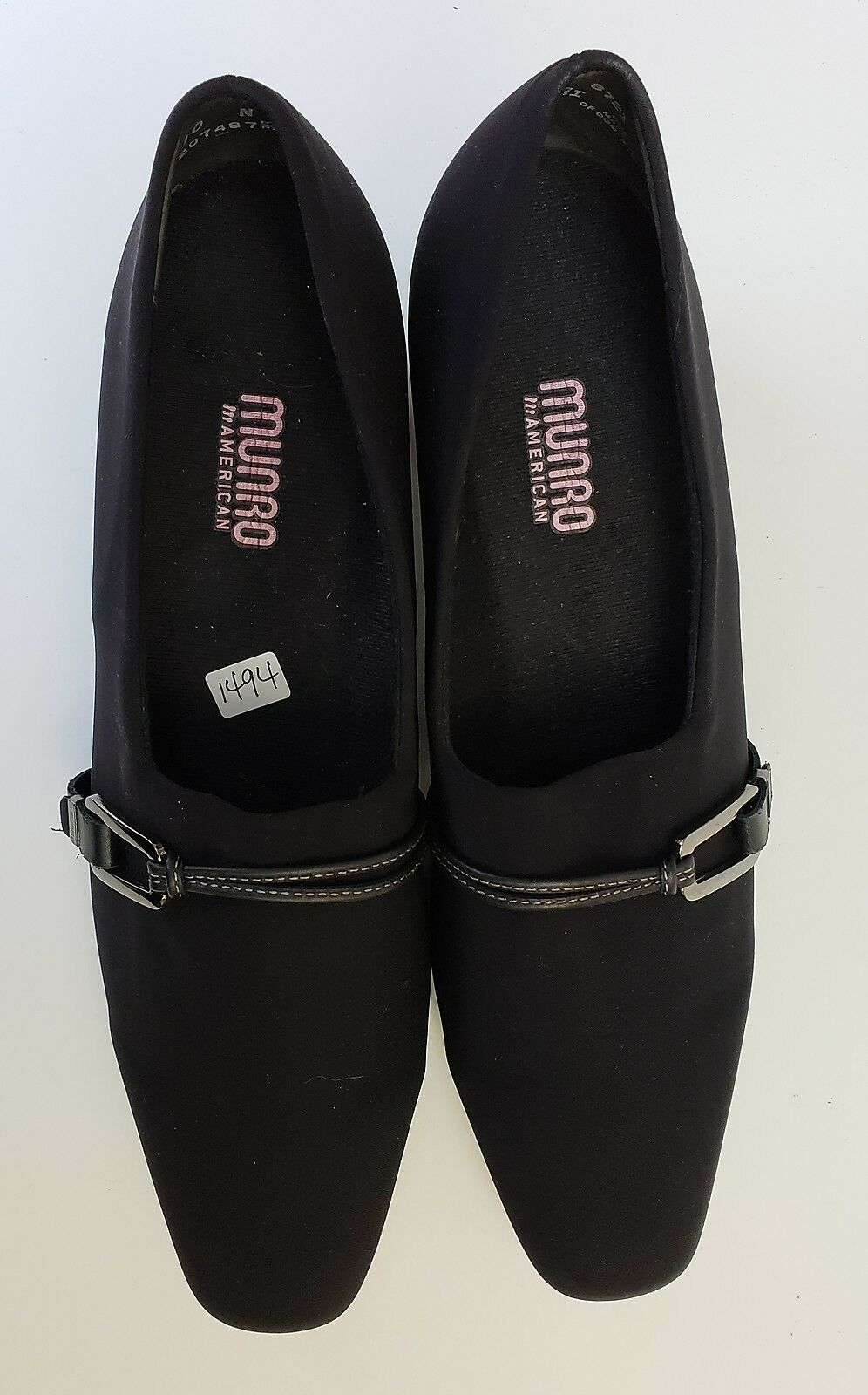 Munro shoes Heels Black Pumps Slip On On On Fabric Upper Low Heels USA Womens Size 10N 8a5376