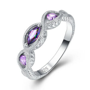 Three-Stone-Rainbow-Mystic-Topaz-Amethyst-Gemtone-Silver-Woman-Ring-Size-6-9