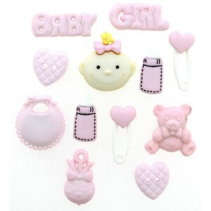 New Baby Card Baby Shower Decoration Pink Buttons Pink Baby Girl Buttons