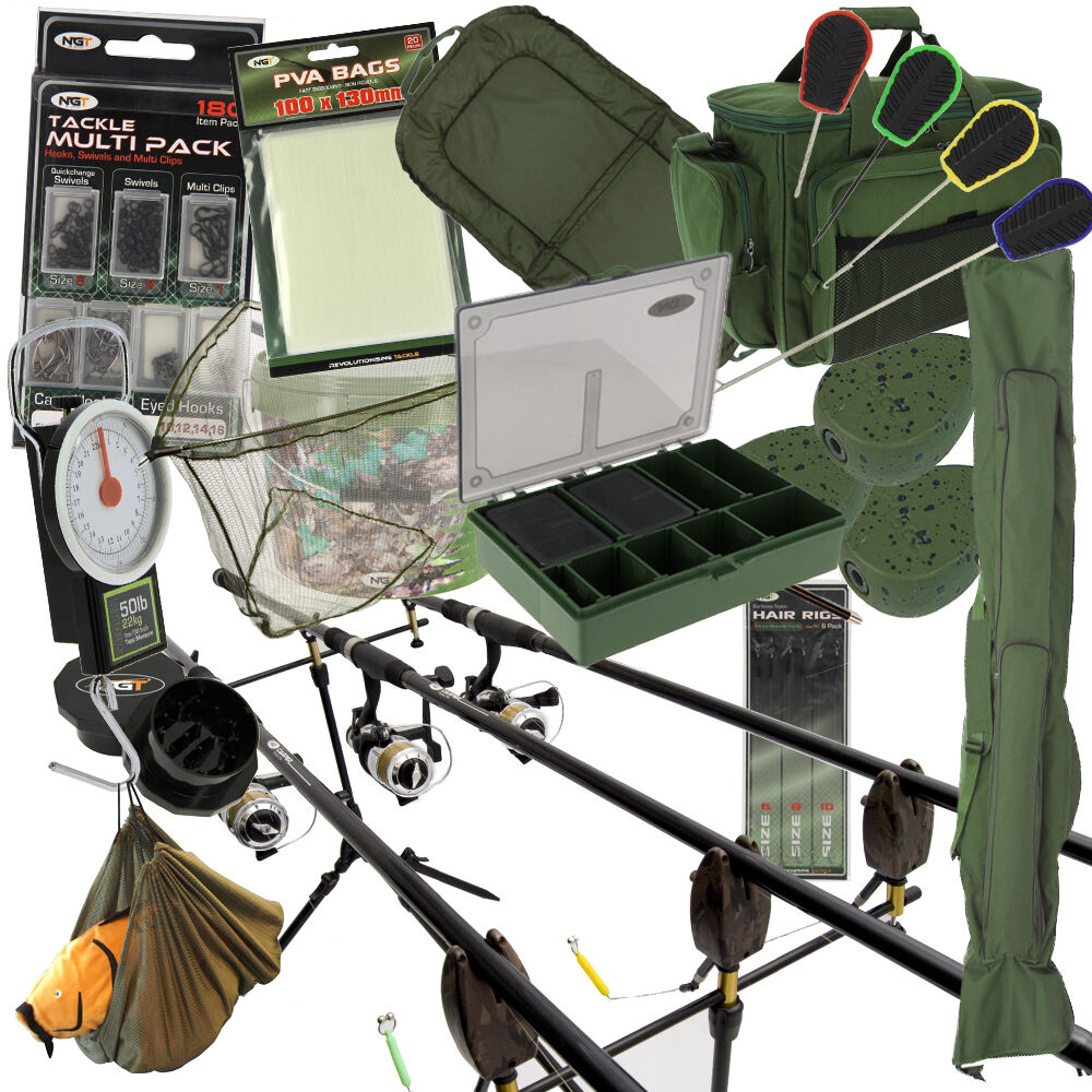 Pesca de Carpa 2   X 3 Barra y Carrete Completo Set Up + Carry All Alarmas