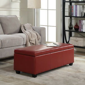 Brilliant Details About 48 Inch Deluxe Bedroom Rectangular Faux Leather Storage Ottoman Bench Large Red Machost Co Dining Chair Design Ideas Machostcouk