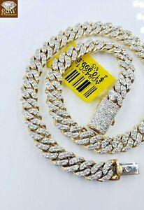 Real-Diamond-Bracelet-For-Men-10k-cuban-Link-Yellow-Gold-9-inch-Box-Lock-Diamond