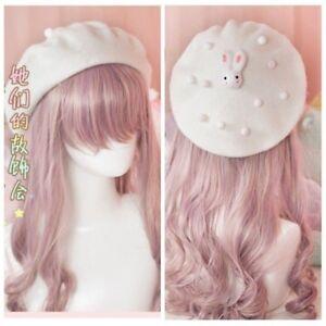 8a0f67993ee24 Japanese Mori Girl Sweet Lolita Beret Cap Bunny Pompom Decor Painter ...
