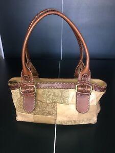 Details About Fossil 75082 Vintage Suede Leather Patchwork Handbag Bag Purse Tote