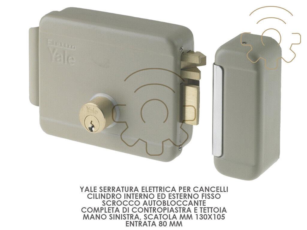 Yale serratura elettrica per cancelli mano sx scatola mm 130 x 105 entrata 80 mm