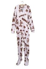 Texas State TS  Bobcats Onesie Jumpsuit Footed Pajamas Hooded Pyjamas Size L