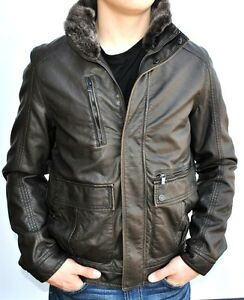 9c01073bc53 Details about KENNETH COLE Men's Faux Leather Removable Faux Fur Collar  Insulated Jacket/Coat