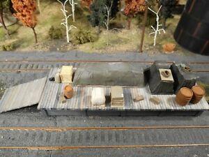 HO-Roco-Railway-Hand-Painted-Custom-Detailed-Loading-Dock-Adjustable-Ramp