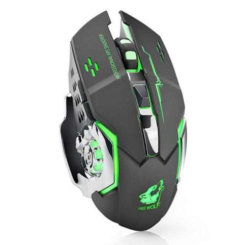 2.4GHz PC Wireless Mute Rechargeable Mouse LED Backlit 1800DPI Optical Game Mice