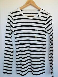 NWT-GAP-Women-039-s-Favorite-LS-Crew-Black-Striped-T-Shirt-Sizes-XS-S-M-MSRP-25-NEW
