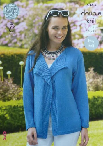 KNITTING PATTERN Ladies Easy Knit Jacket and Lace Panel Cardigan Bamboo DK 4343