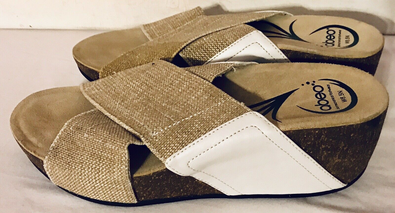 ABEO Unity Slip On Credver Wedge Sandal Stretch White Beige Brown Size 8.5 N