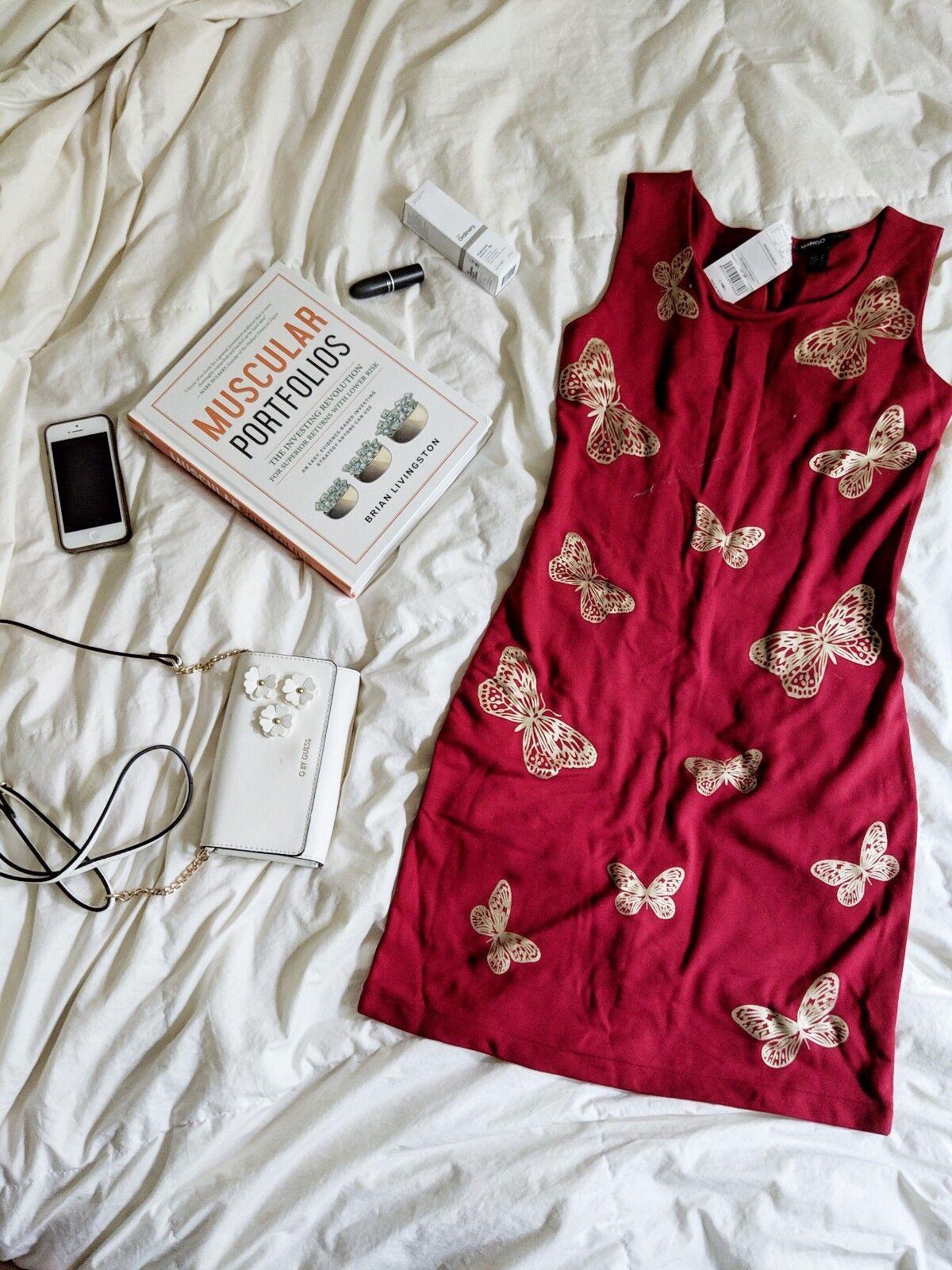 Mango Casual Red butterflies Dress New Size Medium