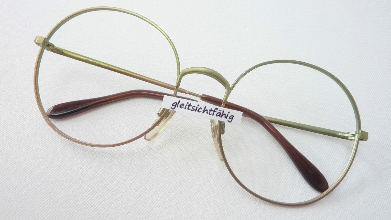 XL Brillenfassung Metall Brille groß rund 70s 70s 70s grün braun Hippie Vintage 5618 | Outlet Store  | Verschiedene Waren  | Exquisite (mittlere) Verarbeitung  1a2df0