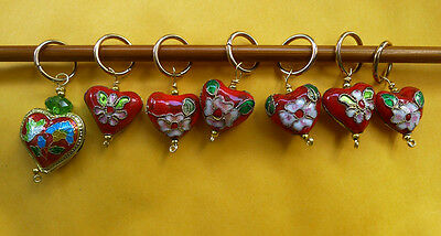 6 mm pink crystal and heart shaped cloisonne beads knitting 6+1 Stitch marker