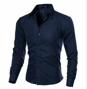 Men-039-s-Slim-Fit-Shirt-Long-Sleeve-Formal-Dress-Shirts-Casual-Shirts-Tops