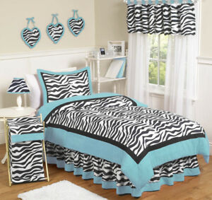 Turquoise Blue Black Zebra Print Teen Kids Twin Girl Jojo Bedding