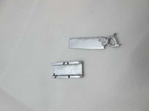 Dollhouse Miniature Unfinished Metal Saw w//mitre box