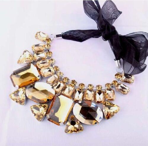 Collier Kette große Strass-Steine champagner gelb cognac Strasscollier Halskette