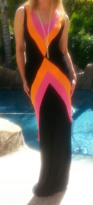 Maya Antonia-TALL Größe- V-schwarz-Hot Rosa-Orange Farbe Block Elegant Maxi Dress