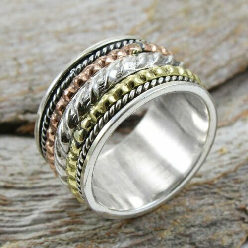 Solid 925 Sterling Silver Spinner Ring Meditation Statement Ring Size M466