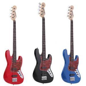 vintage brand new 4 string electric bass guitar black blue red 21 frets us stock ebay. Black Bedroom Furniture Sets. Home Design Ideas
